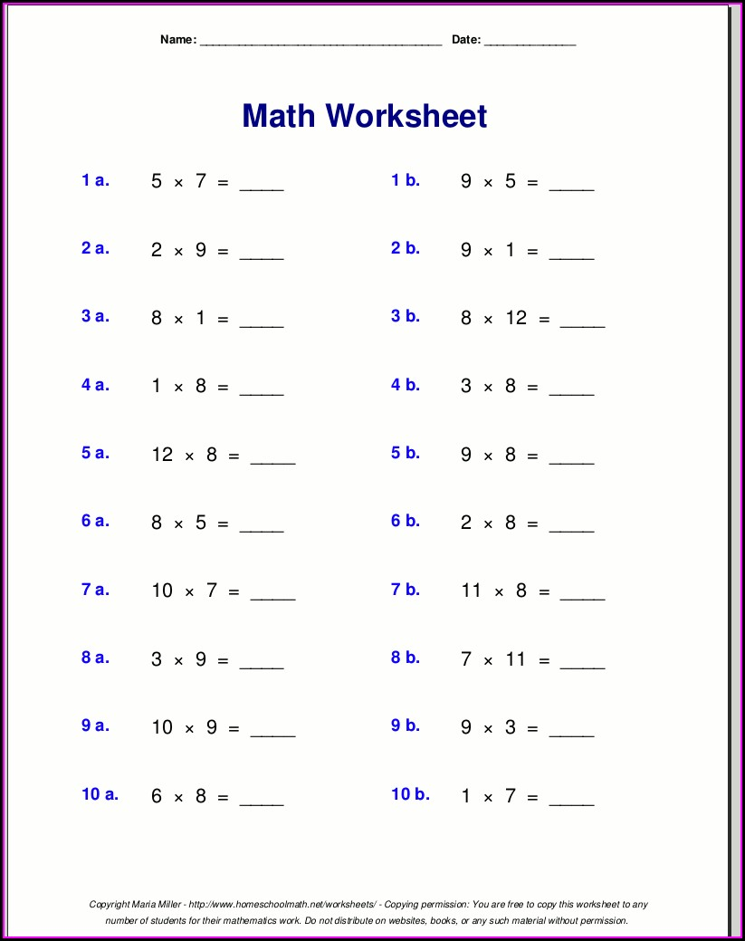 Multiplication 7 Times Table Worksheet