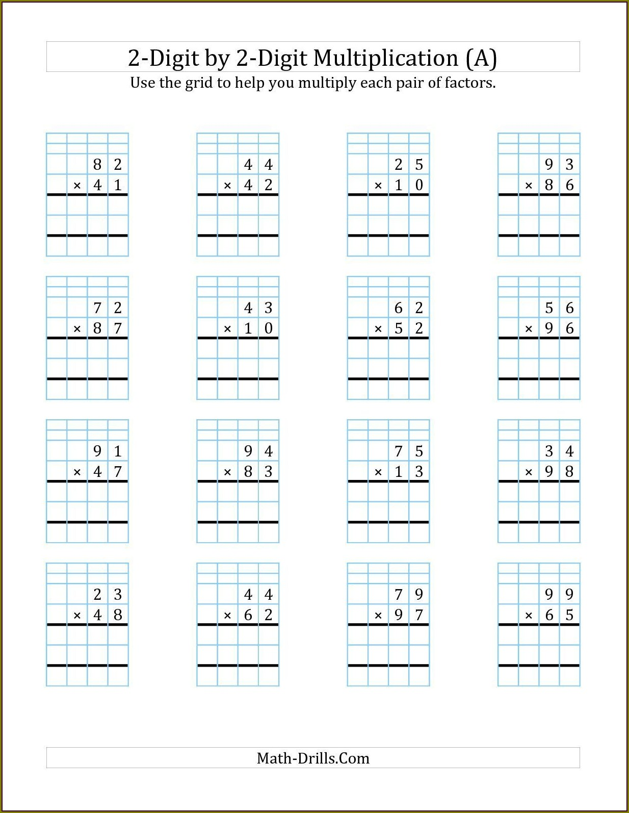 Multiplication Printable Worksheet For Class 2