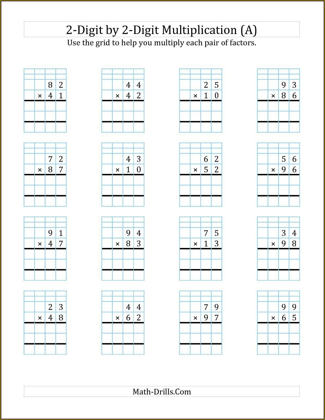 Multiplication Printable Worksheet For Class 2