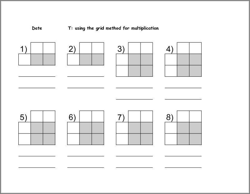 Multiplication Using Grid Method Worksheets