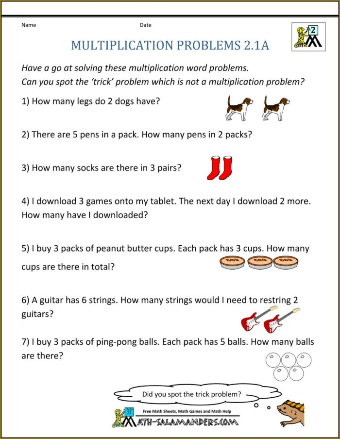 Multiplication Word Problems Worksheet For Class 2