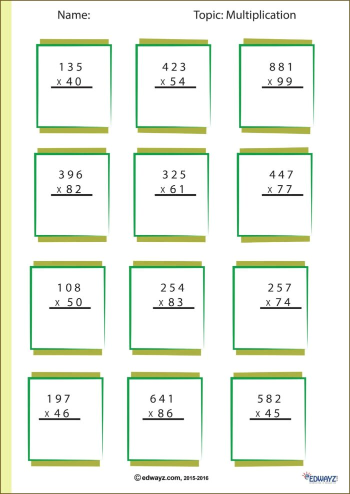 Multiplication Worksheet For Class 4