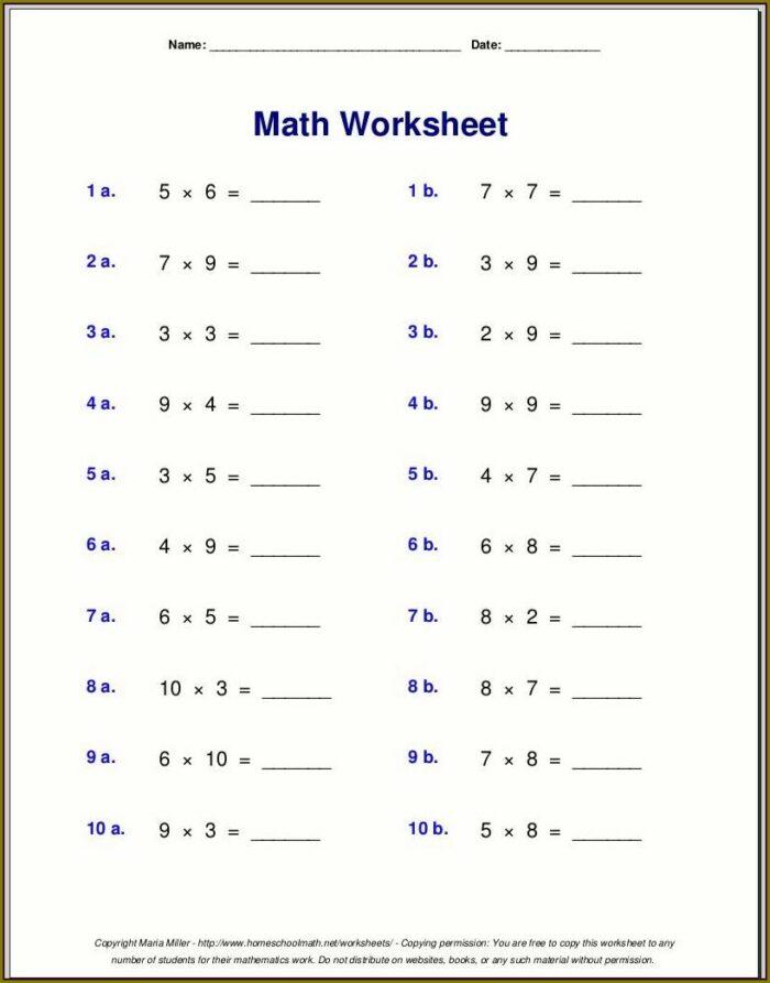 Multiplication Worksheet For Class 4 Maths