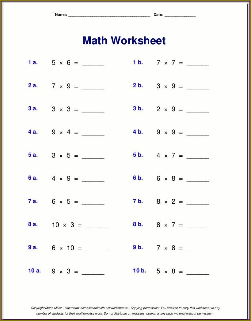 Multiplication Worksheet For Class 4 Maths