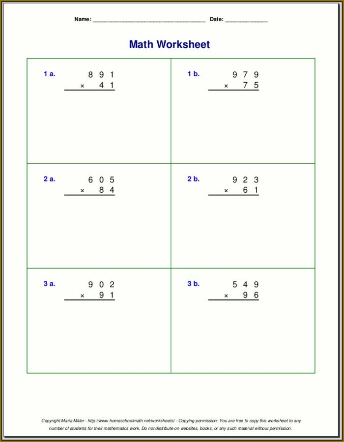 Multiplication Worksheet For Class 5th