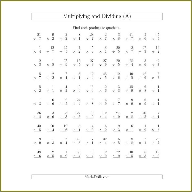 Multiplication Worksheets Math Is Fun