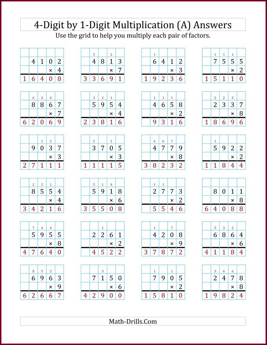 Multiplication Worksheets On Graph Paper