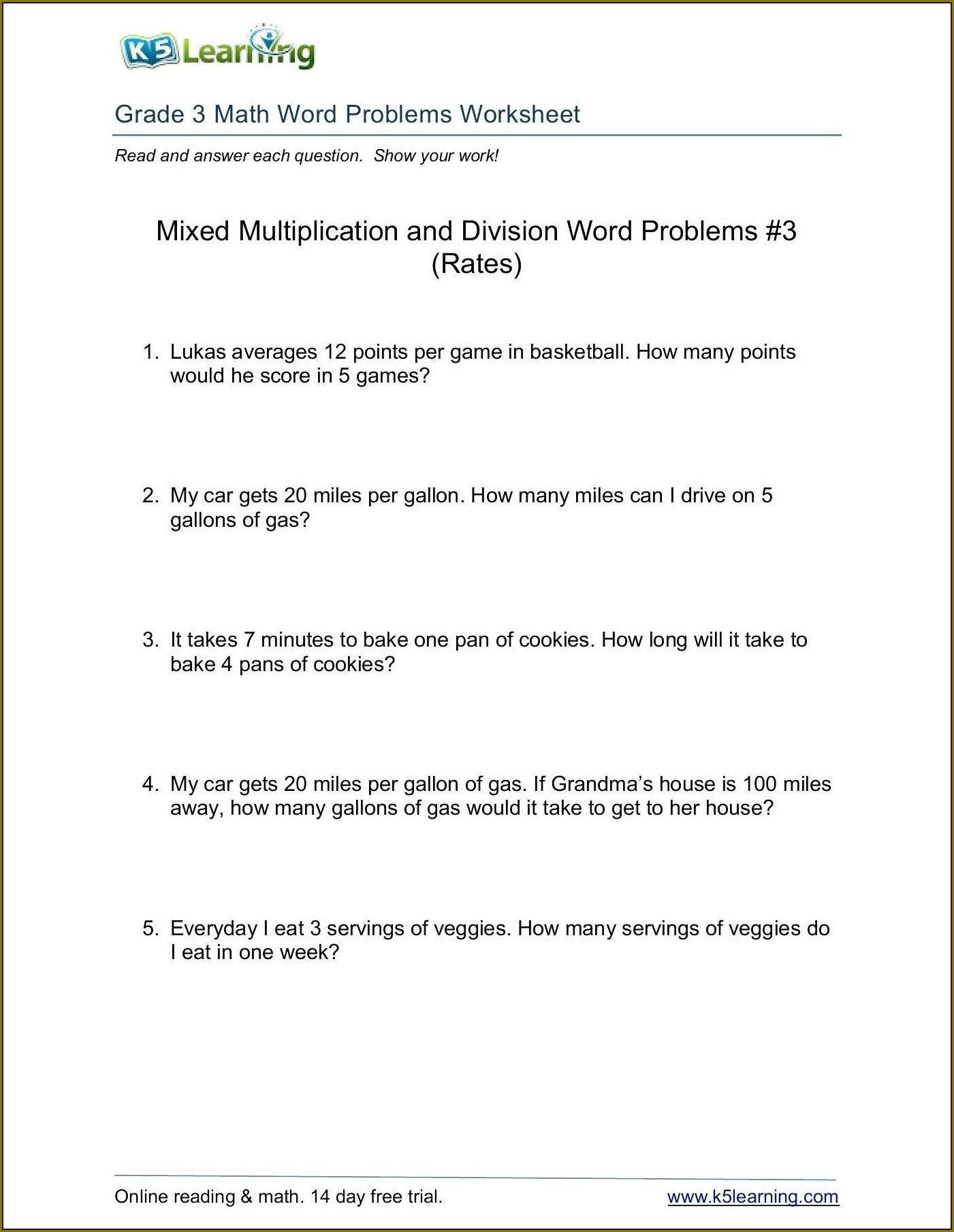 Multiplication Worksheets Word Problems 4th Grade
