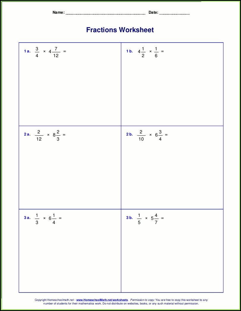 Multiplying Fractions And Mixed Numbers Worksheet 5th Grade