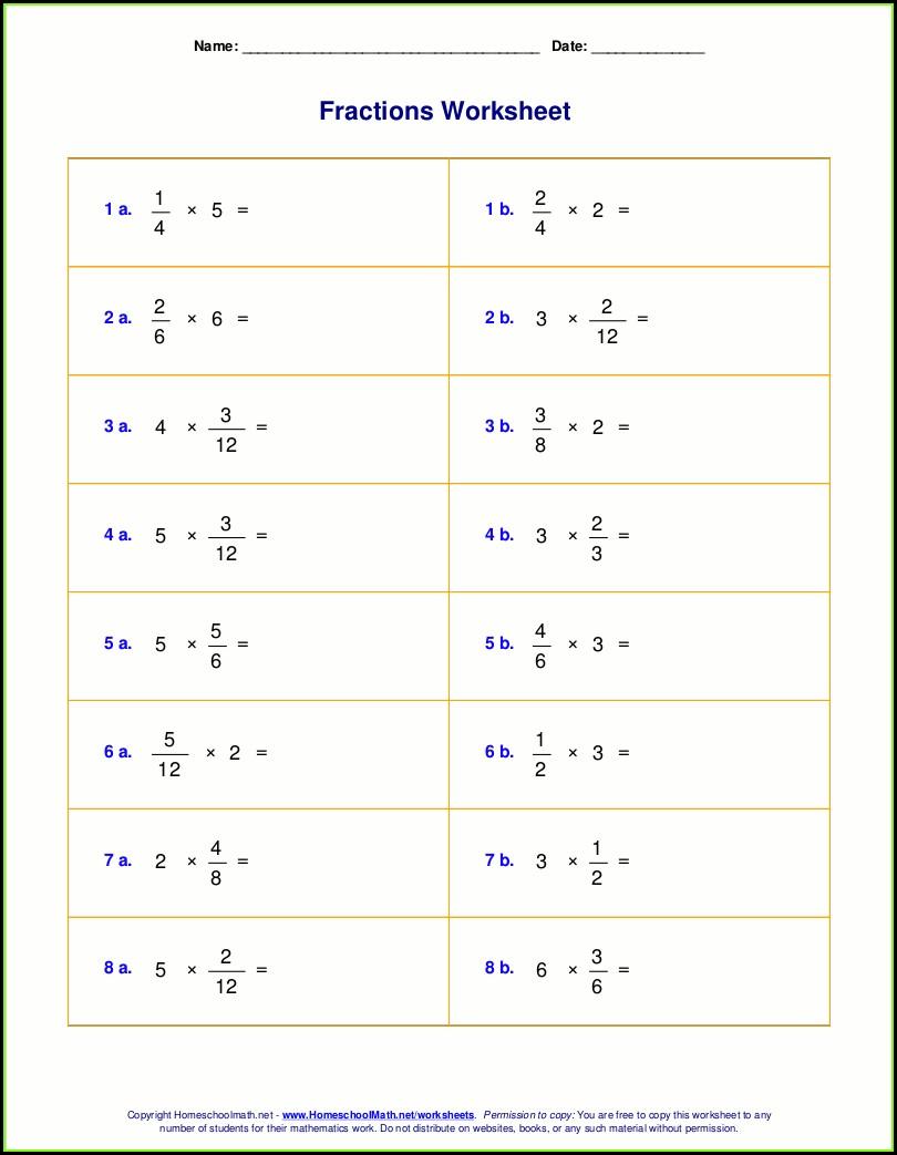 Multiplying Fractions And Whole Numbers Worksheet Pdf