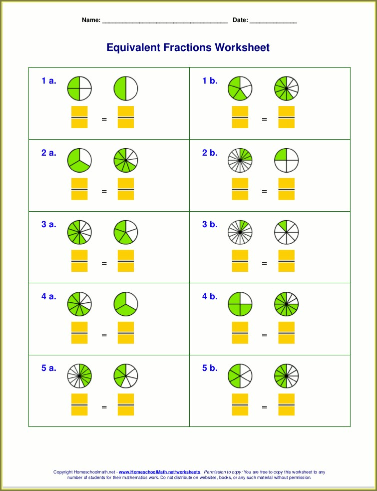 Multiplying Fractions Visual Worksheet Answer Key
