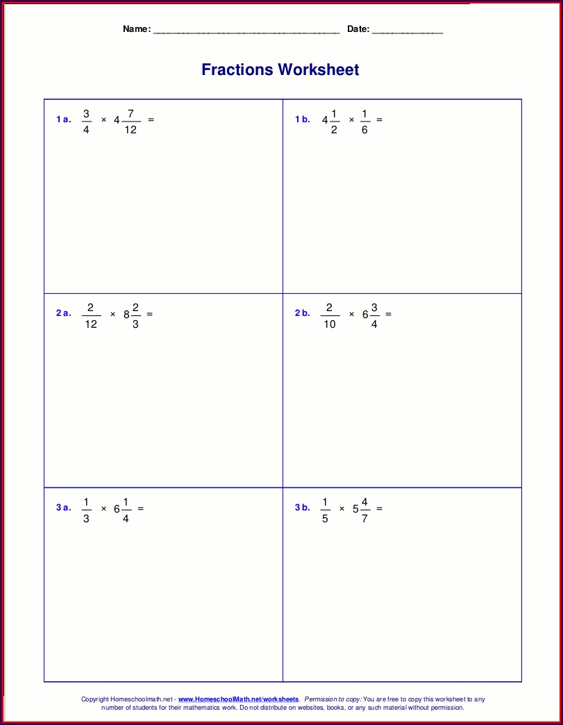 Multiplying Fractions With Whole Numbers Worksheet