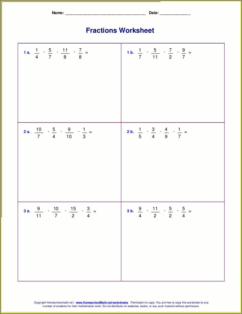 Multiplying Fractions Worksheet High School