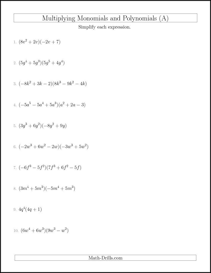 Multiplying Polynomials Worksheet Hard