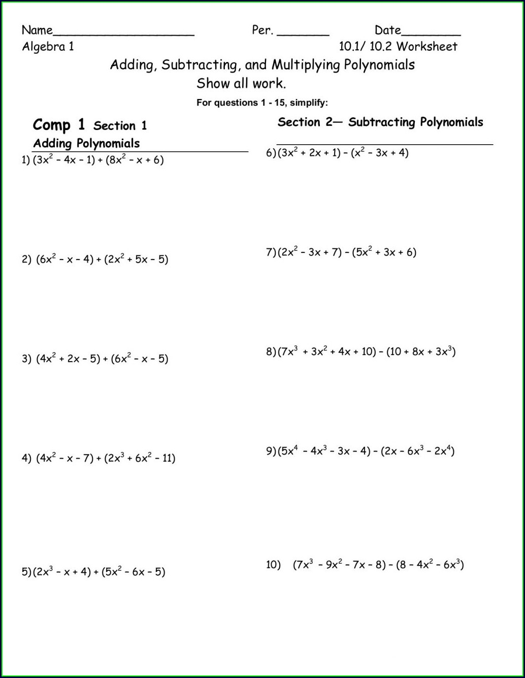 Multiplying Polynomials Worksheet Lesson 7 7