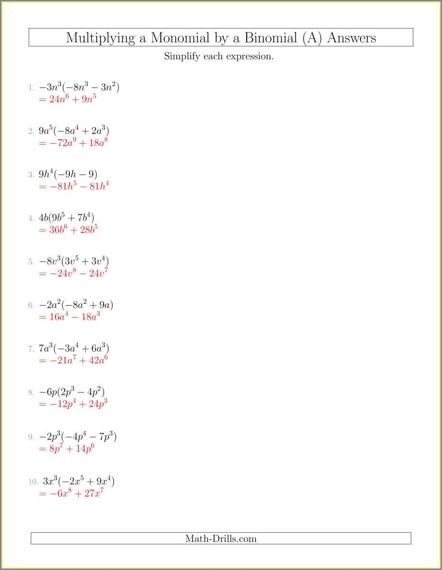 Multiplying Polynomials Worksheet With Answers Pdf