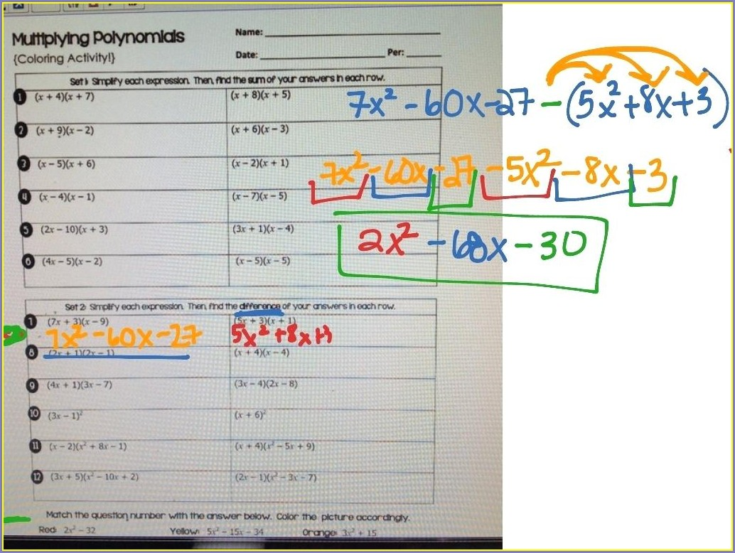 Multiplying Polynomials Worksheet With Answers