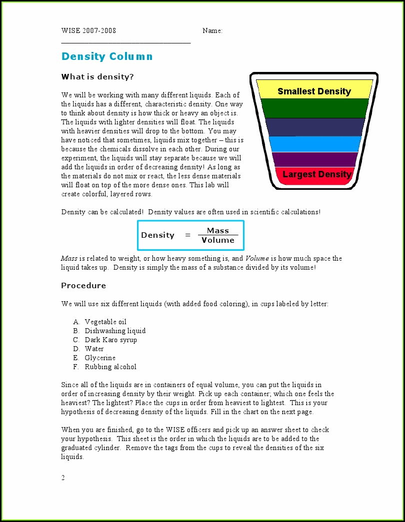 My Density Experiment Worksheet