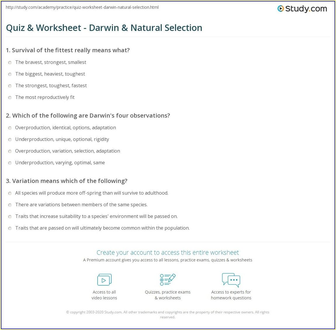 Natural Selection Reading And Worksheet