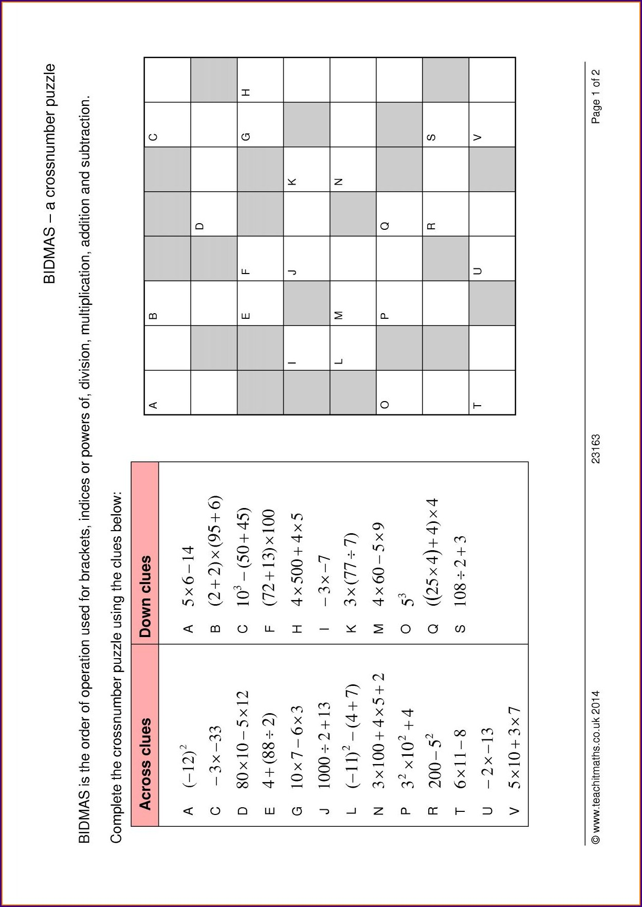 Negative Number Calculations Worksheet