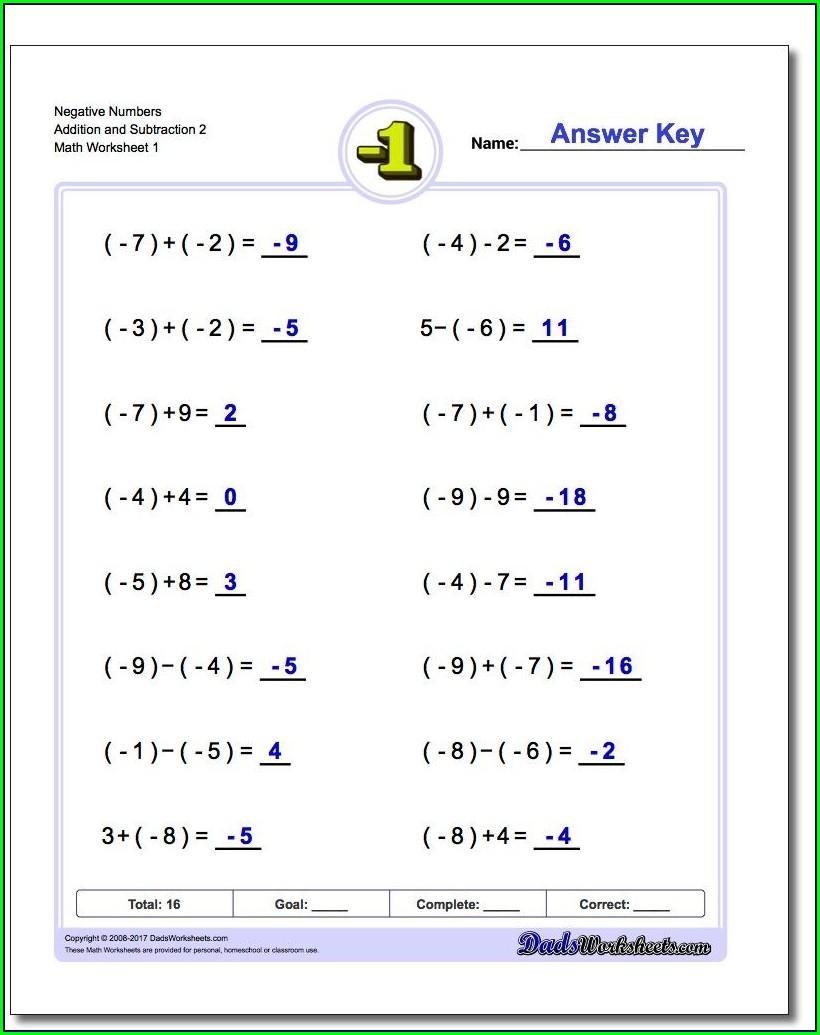 Negative Number Worksheet Tes