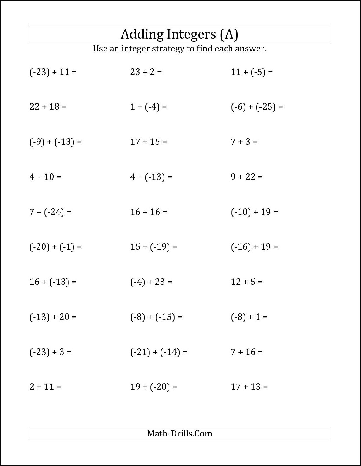 Negative Number Worksheets Ks3