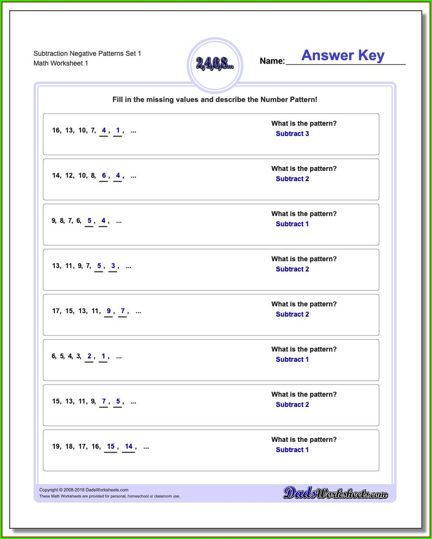 Negative Number Worksheets Year 8