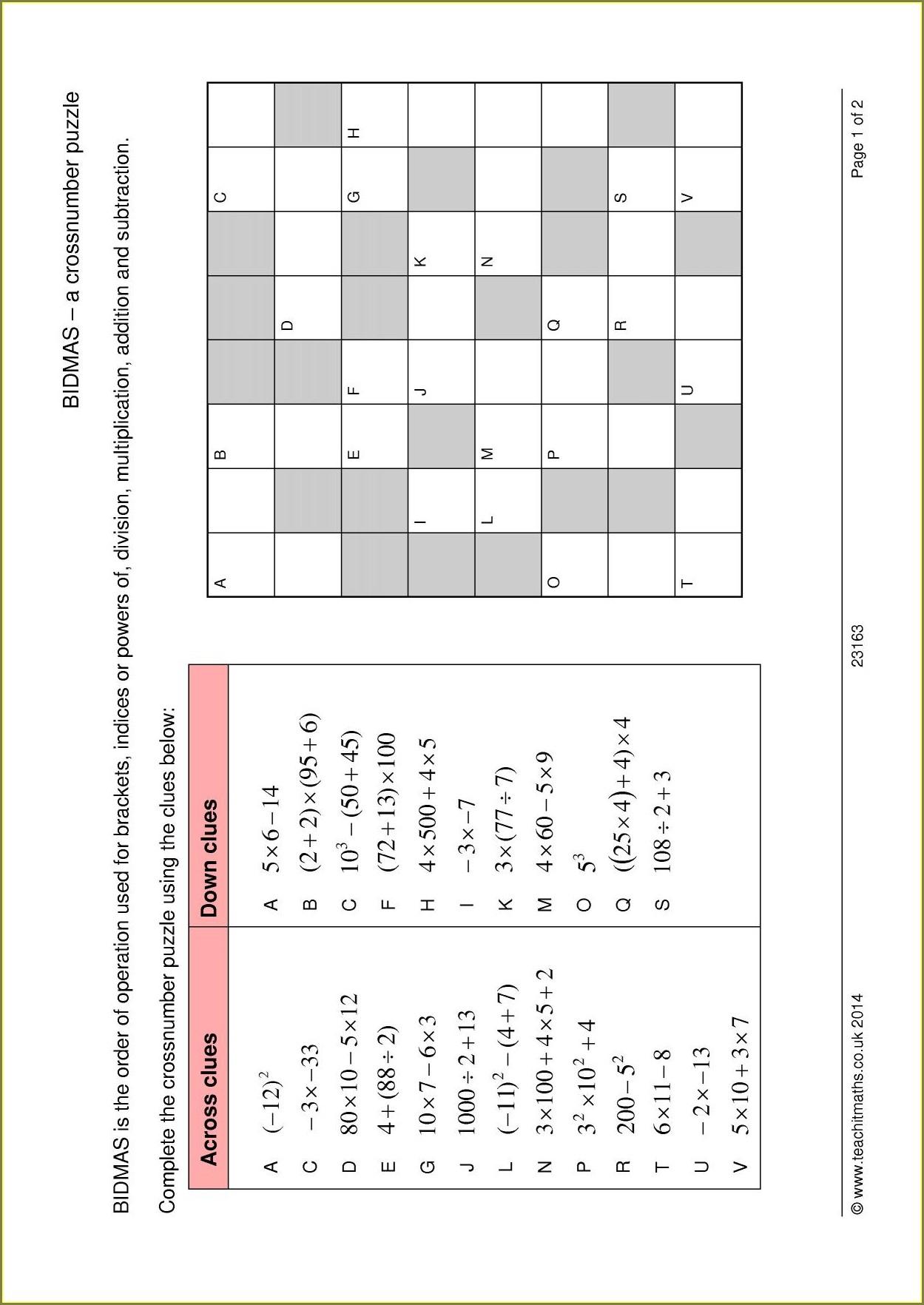 Negative Numbers Including Bidmas Worksheet
