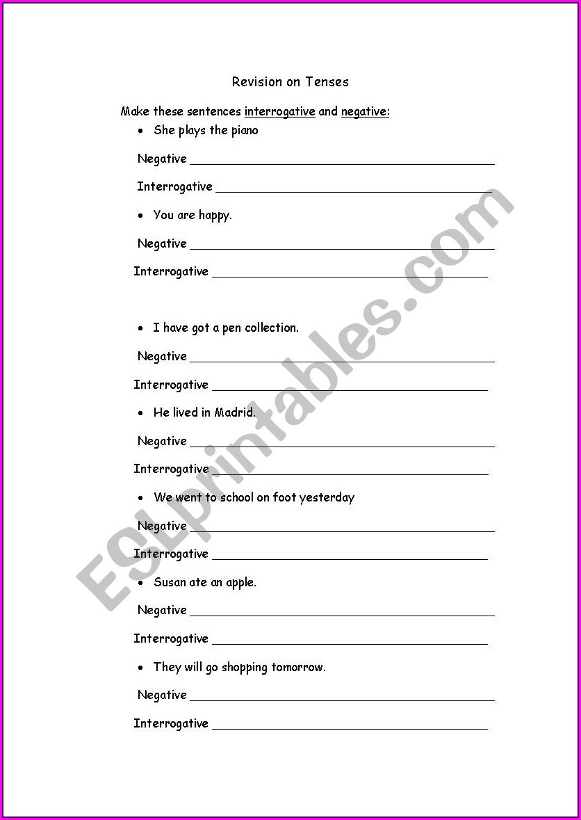 Negative Numbers Review Worksheet