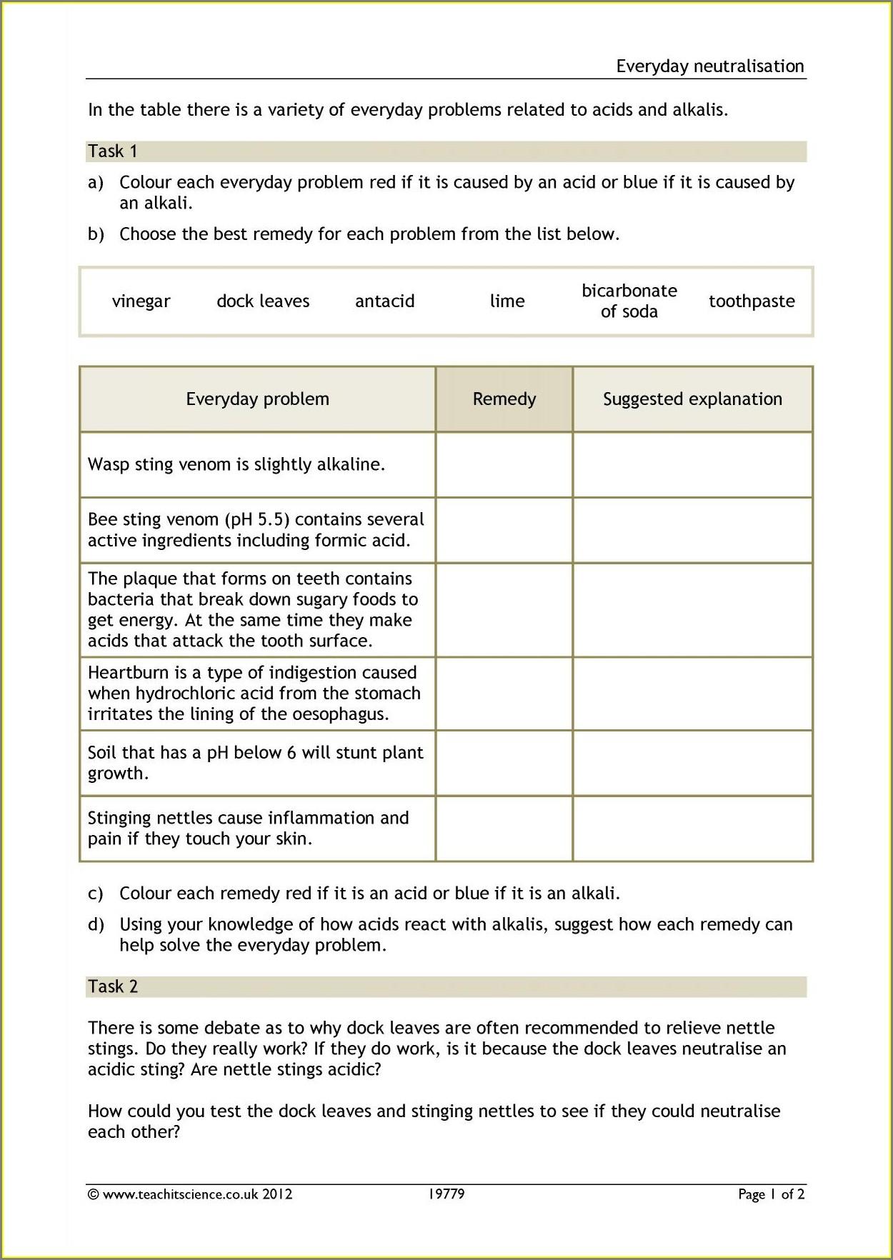 Neutralisation Word Equations Worksheet