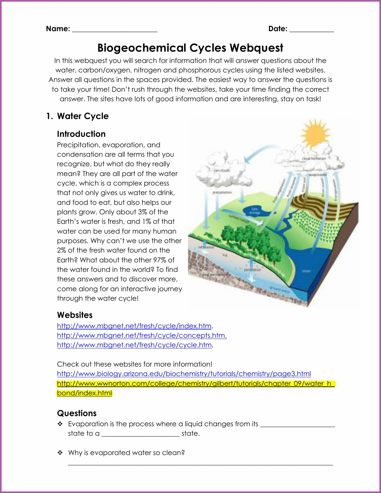 Nitrogen Cycle Biogeochemical Cycles Worksheet Answers