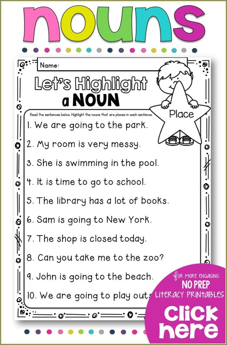 Nouns Worksheet First Grade