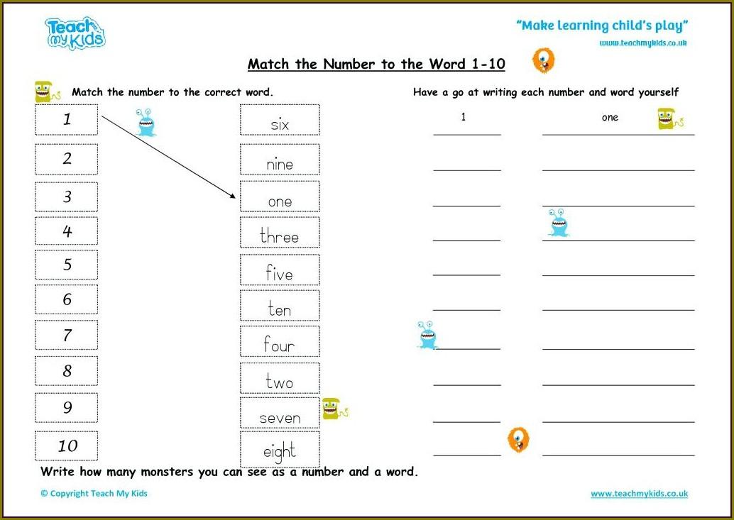 Number 1 5 Worksheet Preschool