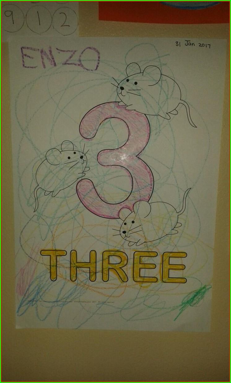 Number 3 Colouring Worksheet