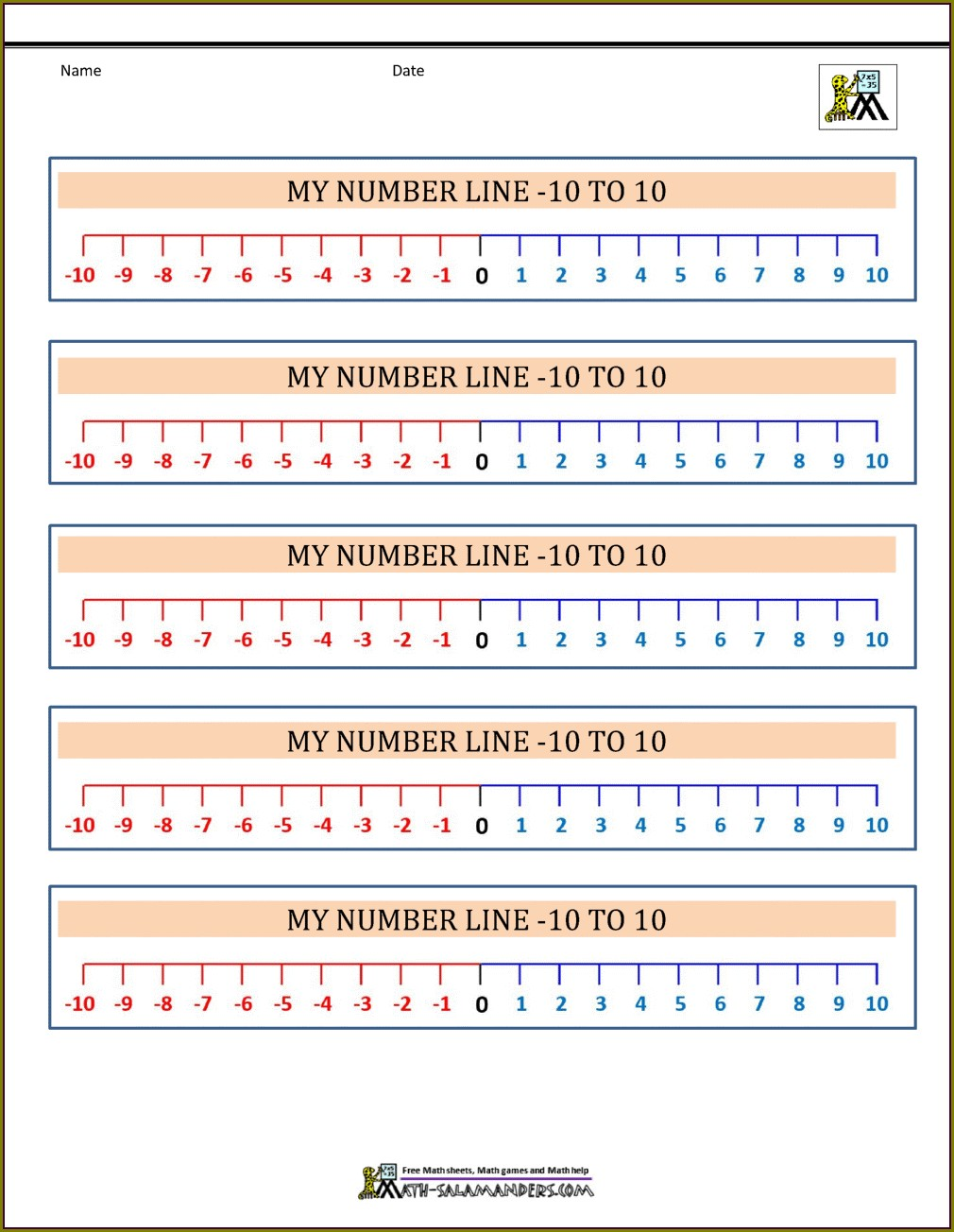 Number Line With Negative Numbers For Display