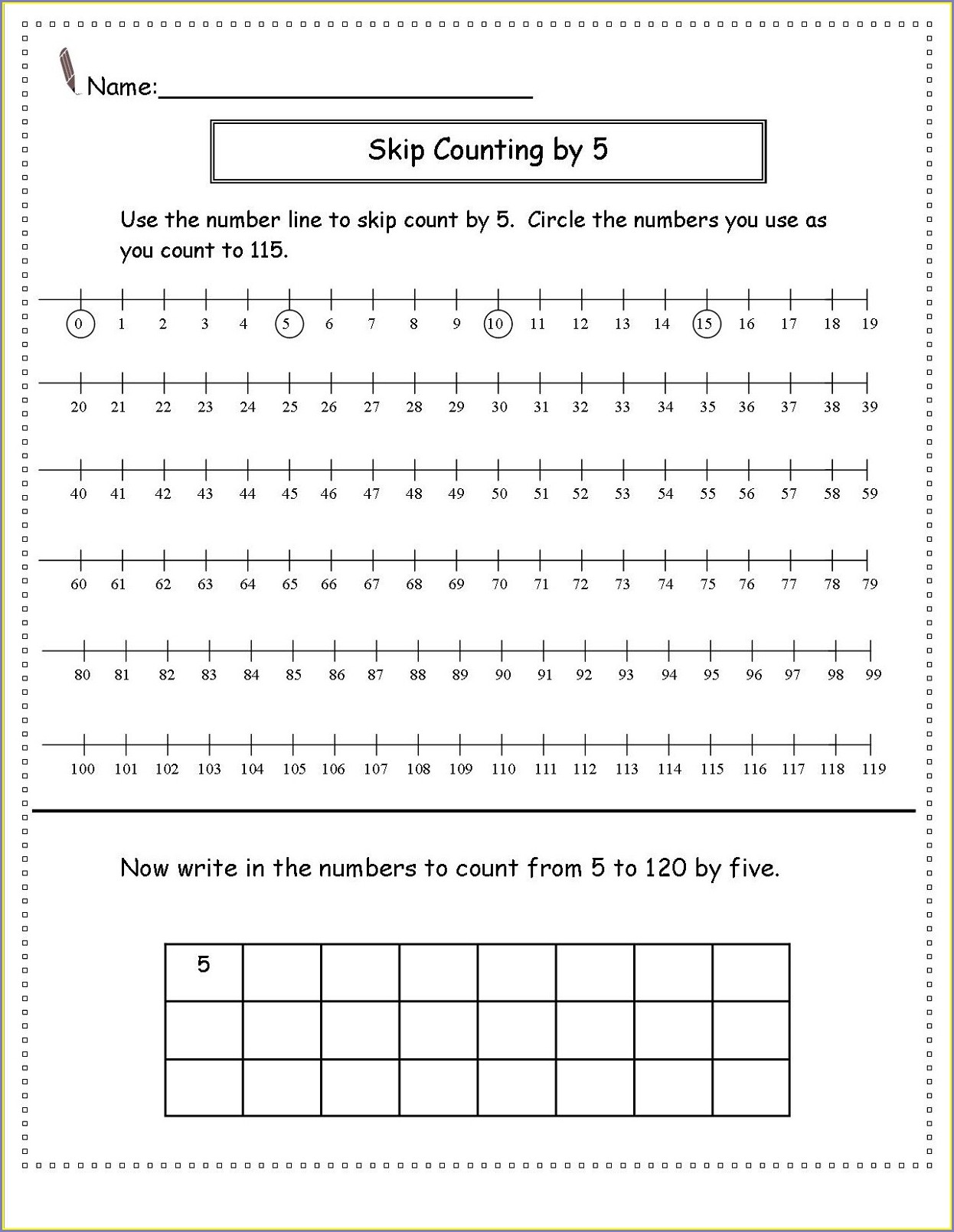 Number Line Worksheet Second Grade