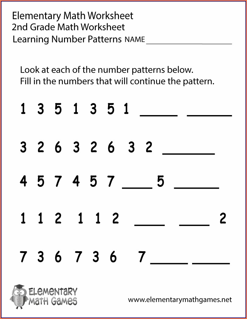 Number Patterns 2nd Grade Worksheet