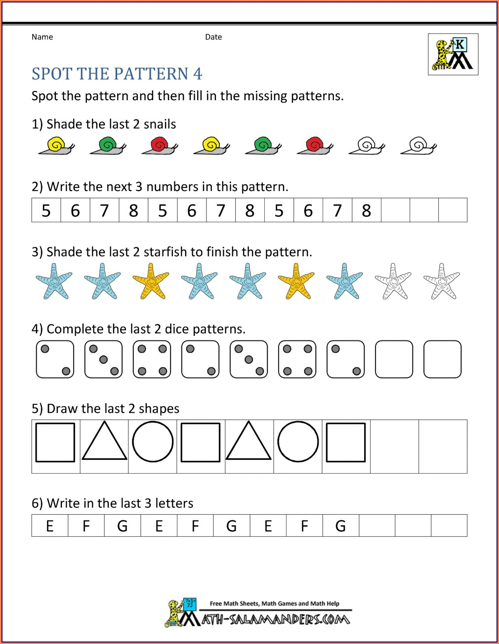 Number Patterns And Sequences Worksheets For Grade 6