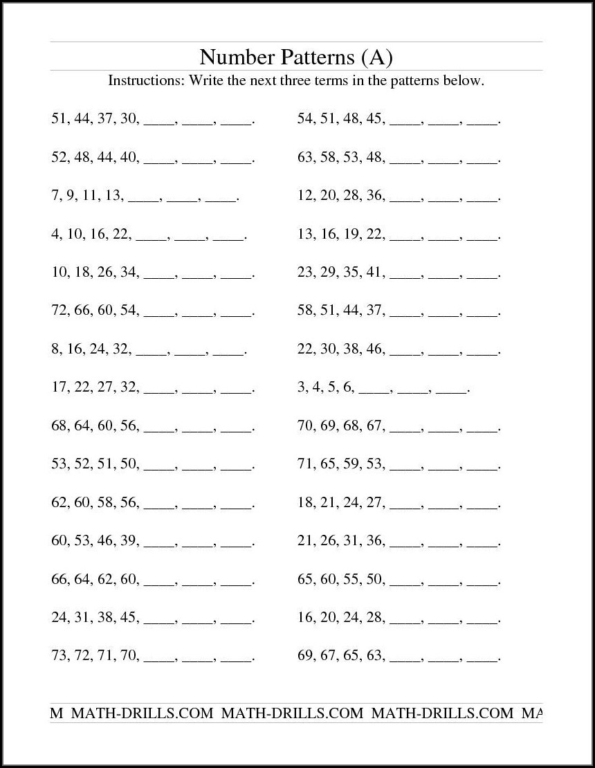 Number Patterns Worksheet Grade 10