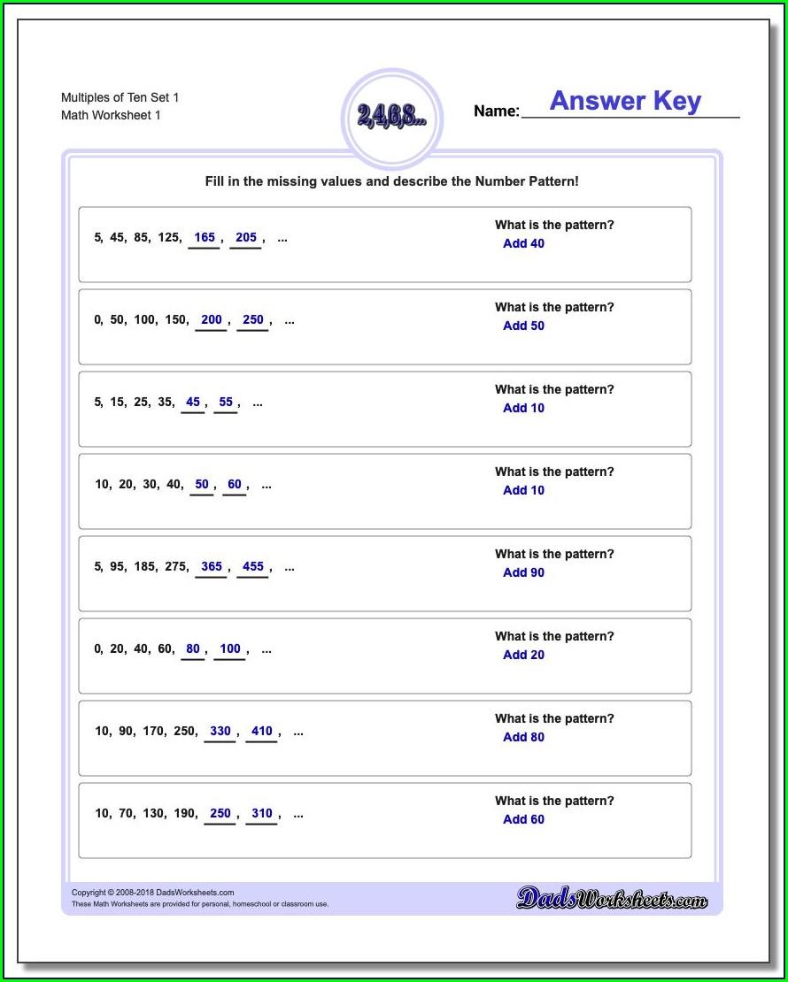 Number Patterns Worksheet Stage 2