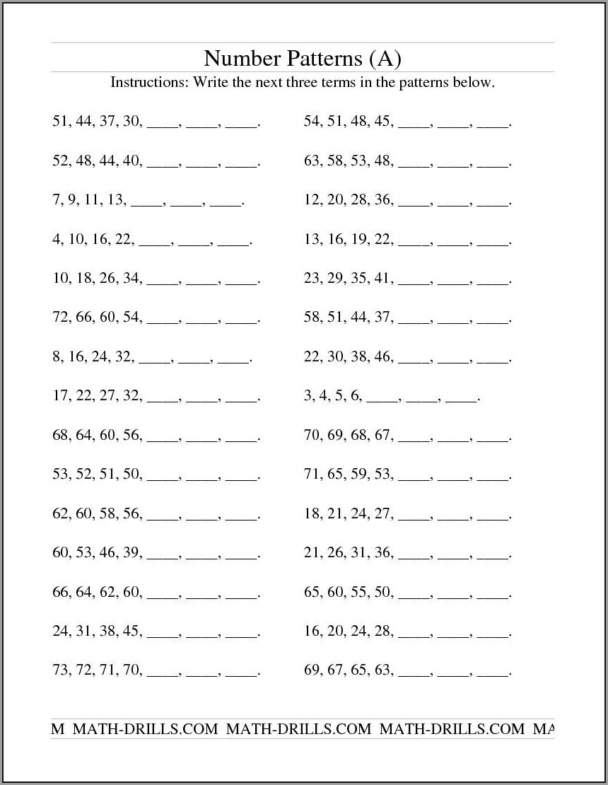 Number Patterns Worksheets For Grade 6