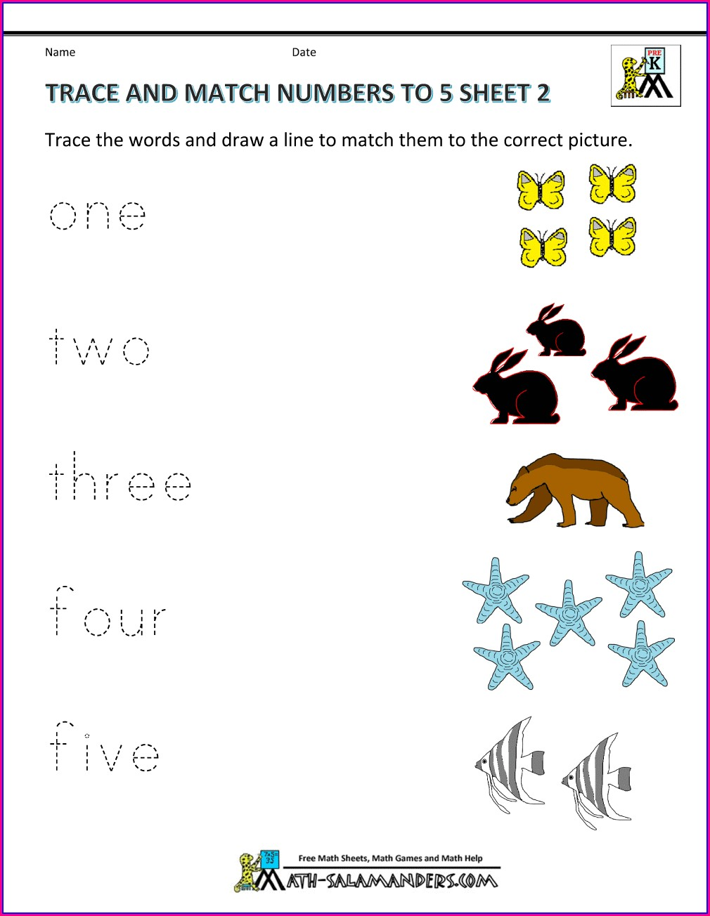 Number To Word Matching Worksheet