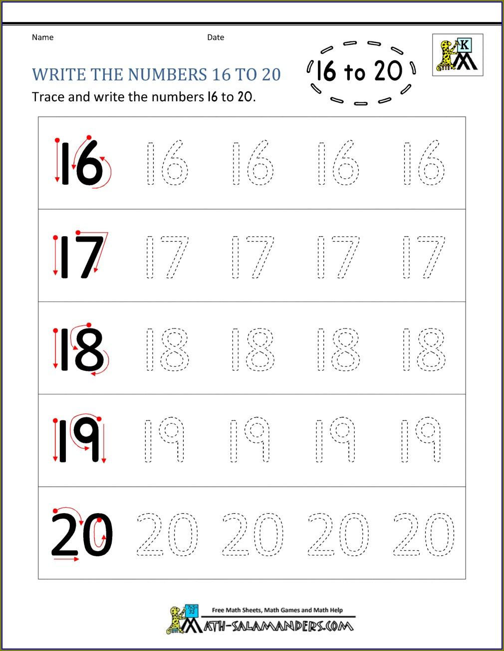 Number Words 11 20 Worksheet For Kindergarten