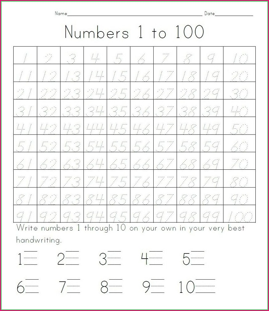 Number Writing Practice Worksheets 1 100