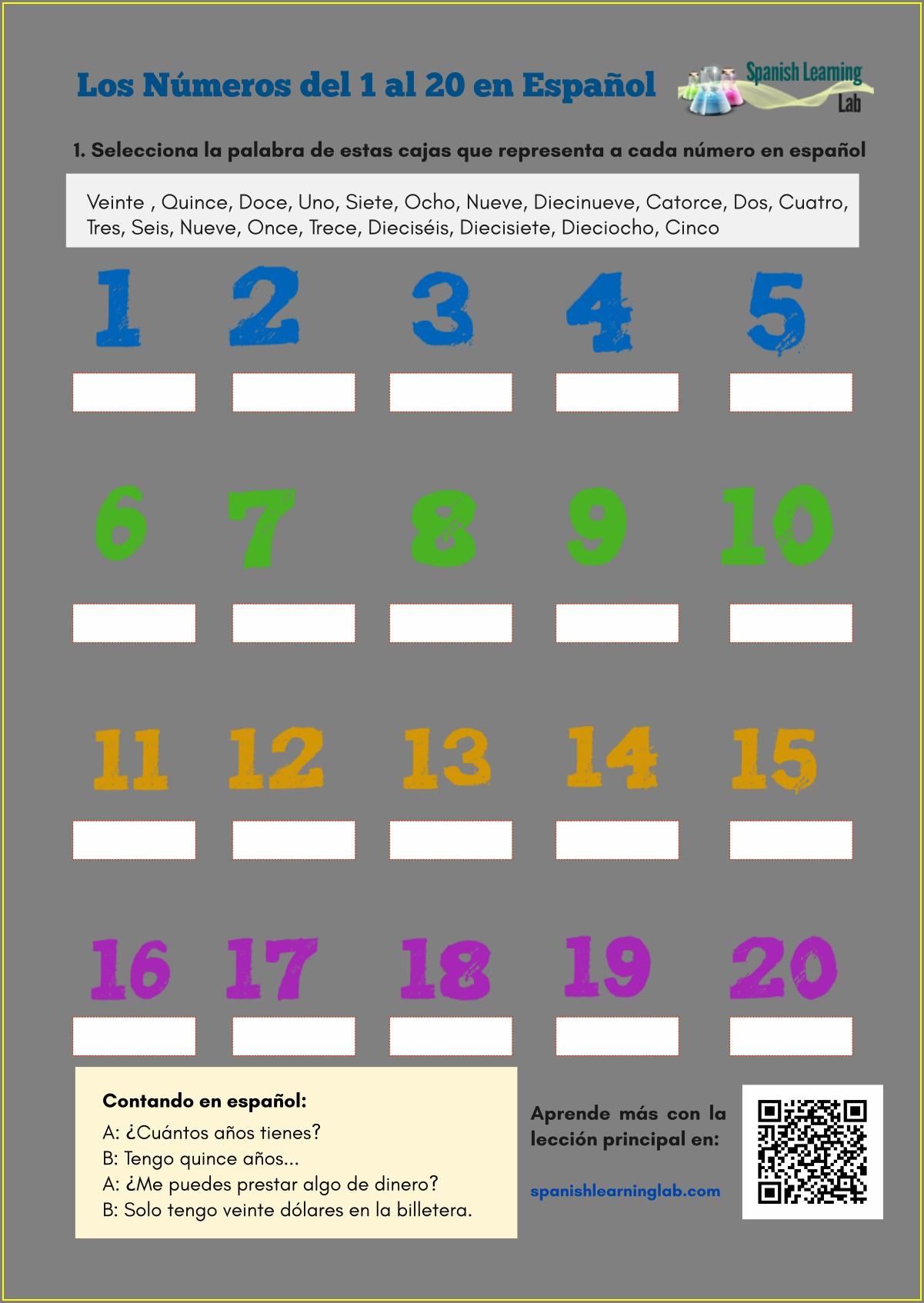 Numbers To 20 Worksheet