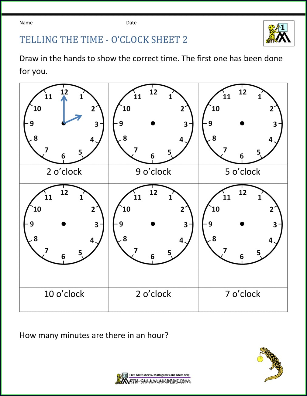 O Clock Telling Time Worksheets Pdf Free
