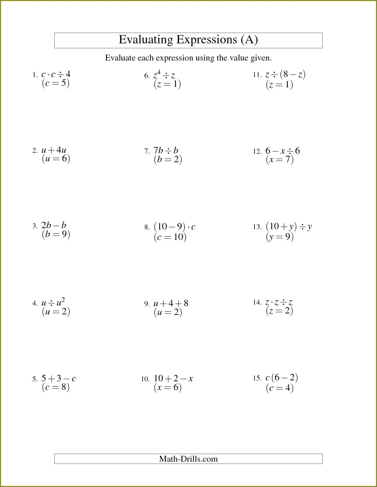 One Step Equations Worksheet Word Doc