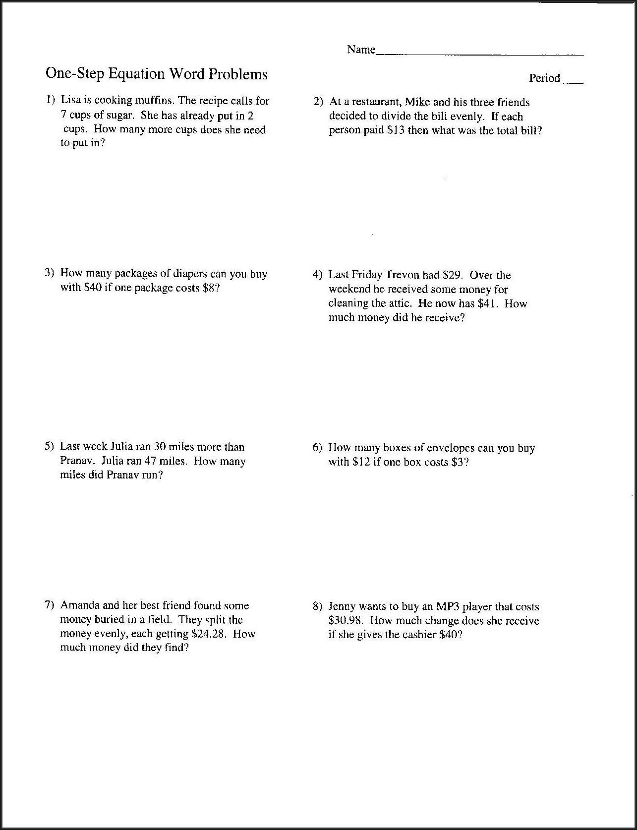 One Step Inequalities Word Problems Worksheet