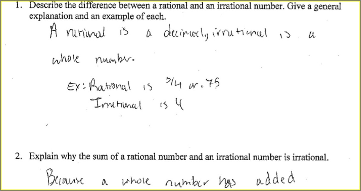Operations With Rational And Irrational Numbers Worksheet