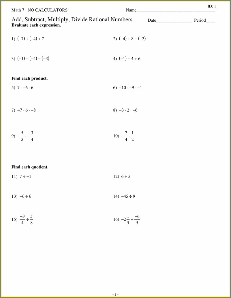 Operations With Rational Numbers Worksheet Kuta
